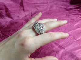 Silver Rhodium CZ Stone Statement Ring 5 Stacking Bands size choices 6 - 10 image 5