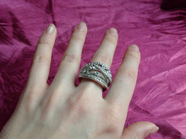 Silver Rhodium CZ Stone Statement Ring 5 Stacking Bands size choices 6 - 10 image 6