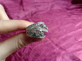 Silver Rhodium CZ Stone Statement Ring 5 Stacking Bands size choices 6 - 10 image 8