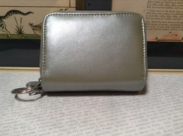 Silver Colored Genuine Leather Wallet with Clear and Front and 2 Zipper Pockets image 3