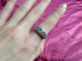 Silver Rhodium and CZ Stone Statement Ring Zig Zag Cut Out Design Size 8 image 4