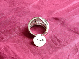 Silver Rhodium CZ Stone  Ring 3 Band Stacking Design Oval Stone Size choices image 3