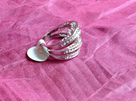 Silver Rhodium CZ Stone  Ring 3 Band Stacking Design Oval Stone Size choices image 2