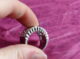 Silver Rhodium CZ Stone Statement Ring Swirl Design Wavy Design On Side Size 8 image 3