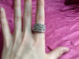 Silver Rhodium CZ Stone Statement Ring Swirl Design Wavy Design On Side Size 8 image 8