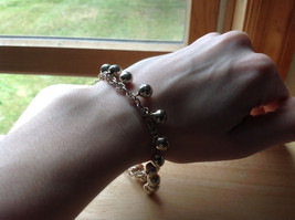 Silver Plated Round Mini Bells Charm Bracelet Lobster Clasp Closure  image 4