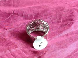 Silver Rhodium CZ Stone Statement Ring Swirl Design Wavy Design On Side Size 8 image 2
