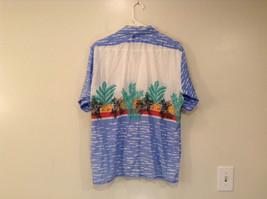 BDF White Blue Green Hawaii Village Pattern Button Up Short Sleeve Shirt Size L image 2