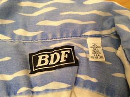 BDF White Blue Green Hawaii Village Pattern Button Up Short Sleeve Shirt Size L image 9