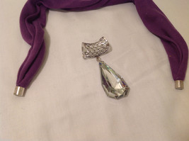 Silver Tone Clear Glass Crystal Reflective Big Tear Drop Shape Scarf Pendant image 6