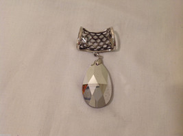 Silver Tone Pink Glass Crystal Reflective Big Tear Drop Shape Scarf Pendant image 3