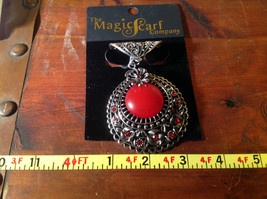 Silver Tone Scarf Pendant with Large Red Stone and Small Red Crystals image 6