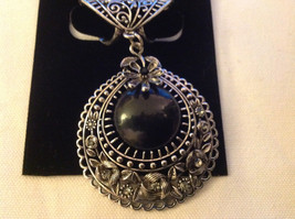 Silver Tone Filigree Design Silver Tone Black Stone Clear Crystal Scarf Pendant image 3