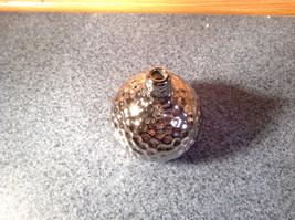 Silver Tone Nature Gourd Flower Holder Vase Ceramic 3 Textured Finish Metallic image 2
