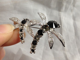 Silver Tone Double Dragonfly Crystal Brooch/Pin Black Clear Stones Pin Closure image 4