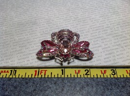 Silver Tone Crystal Inlaid Pink Bee Brooch Pin Light and Dark Pink image 7