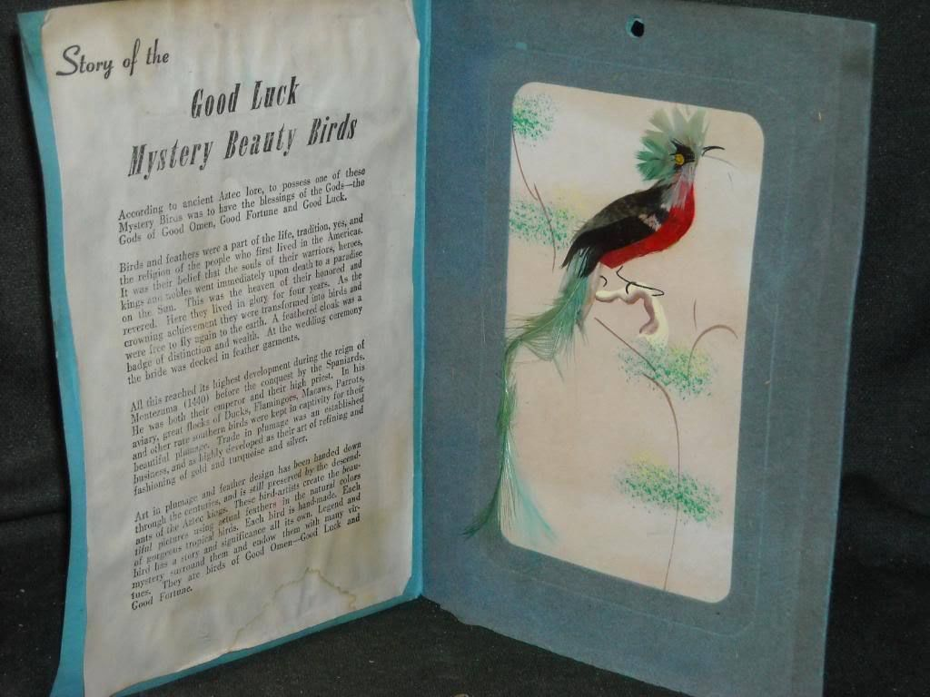 Vintage Good Luck Beauty Birds Felted Greeting Card