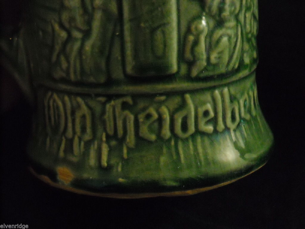 Vintage Green stoneware Beer Steins