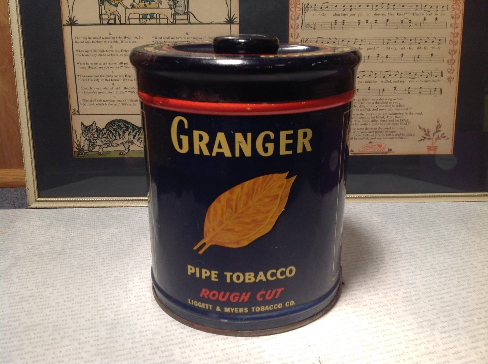 Vintage Grangers Pipe Tobacco Tin Blue with Pointer Dog Rough Cut TIN ONLY