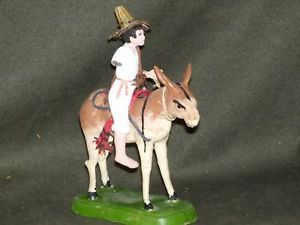 Vintage Hand Made Latin American Man on Burro figurine