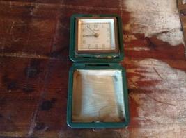 Vintage Green Cased German Travel Tourist Alarm Clock Wind Up Seven Jewels