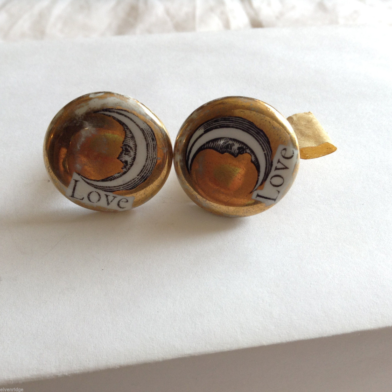 Vintage Gold Plated Enamel Cufflinks with Moons and LOVE sign