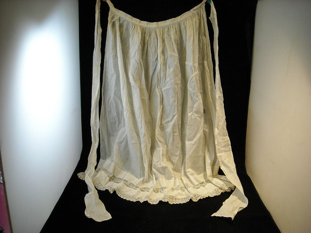 Vintage Hand Sewn White with intricate Lace Apron