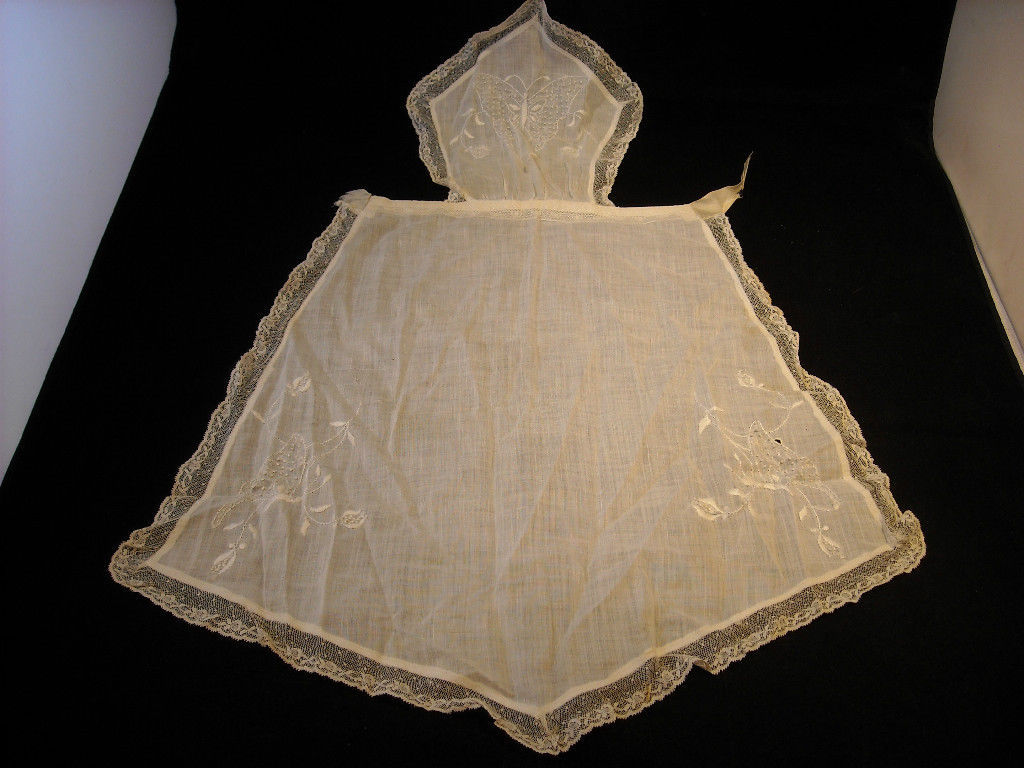 Vintage Hand Embroidered French style frilly apron with bib