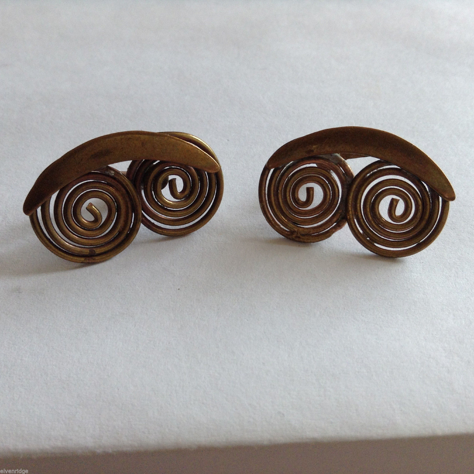 Vintage Gold Tone Scroll Earrings Screw back