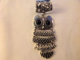 Silver Tone Owl Black Stones for Eyes Scarf Pendant 2 Inches Wide 4 Inches Long image 5