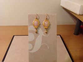 "Vintage Gold tone earrings with light pink - rose stone, 1-1/2"" long"