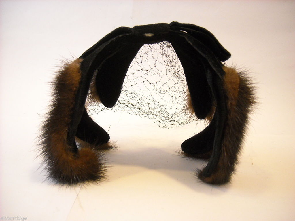 Vintage Ladies' headpiece with velvet and black fur