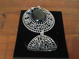 Silver Tone Scarf Pendant with Large Black Oval Stone and Crystals Beads Flowers image 5