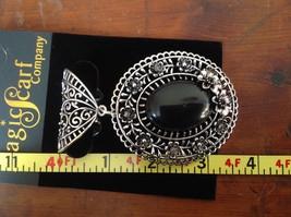 Silver Tone Scarf Pendant with Large Black Oval Stone and Crystals Beads Flowers image 6