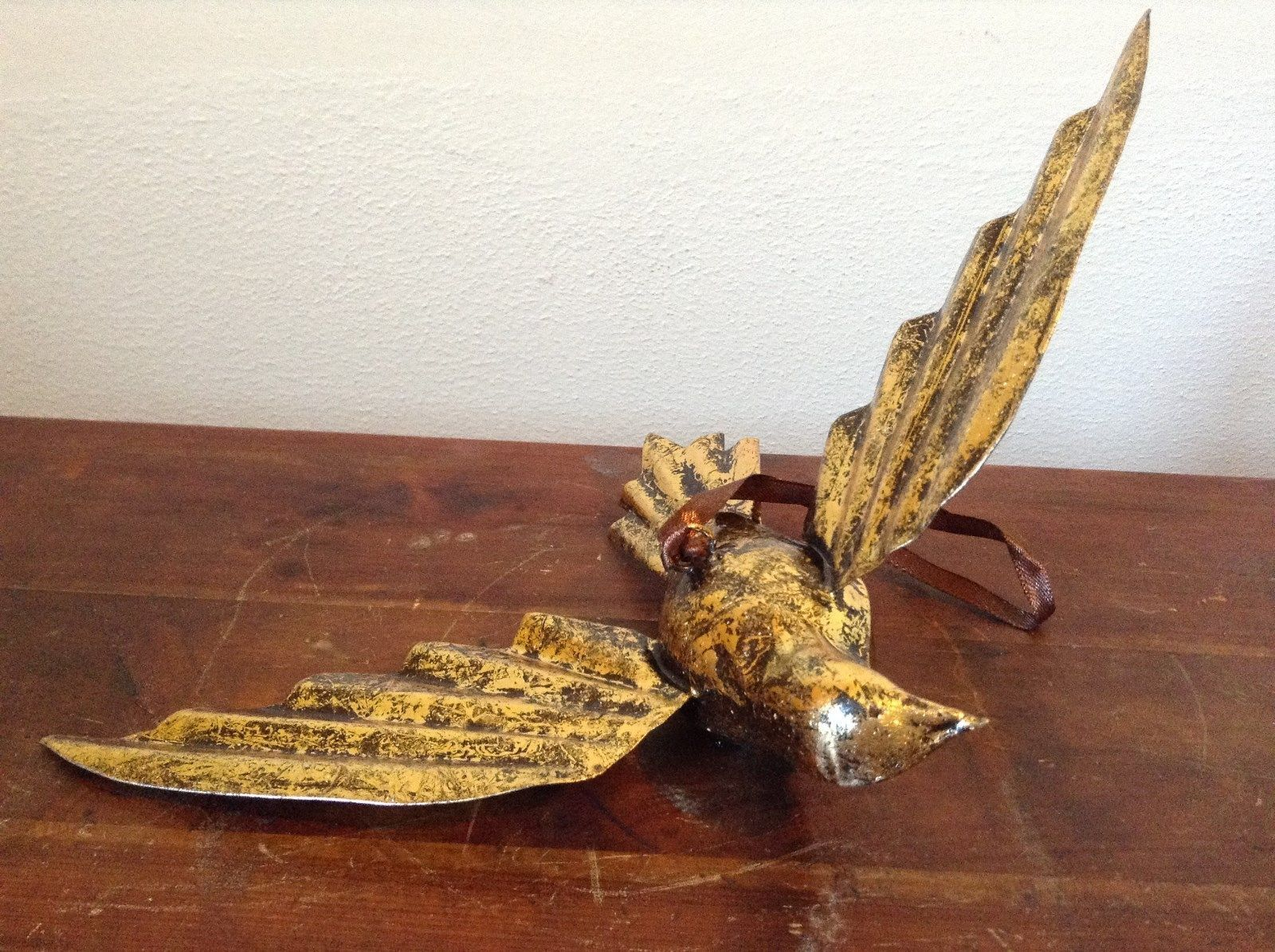 Vintage Gold Tone Bird with  Head Turned wings Out Mid Flight Ornament Vagabond