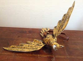 Vintage Gold Tone Bird with  Head Turned wings Out Mid Flight Ornament Vagabond image 1