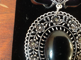 Silver Tone Scarf Pendant with Large Black Oval Stone and Crystals Beads Flowers image 2