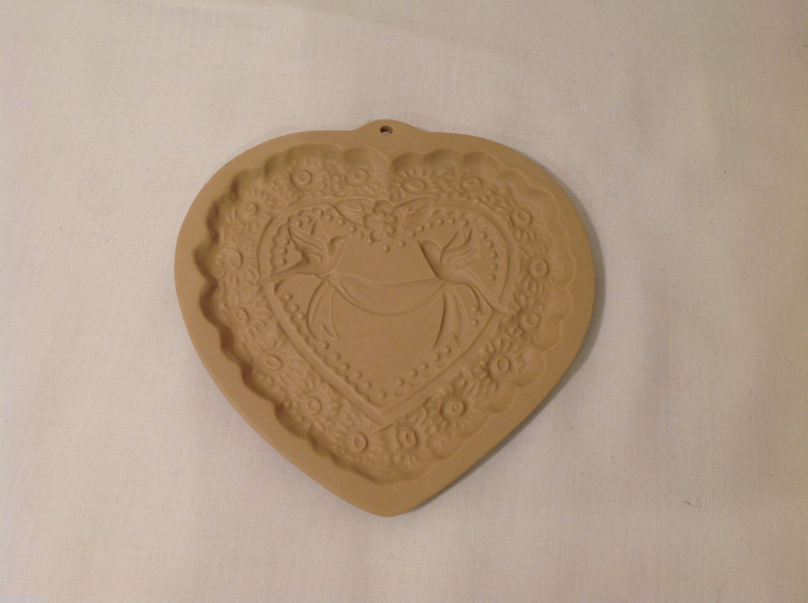 Vintage Heart Shaped Ceramic Cookie Press Plates with Two Doves and Flowers