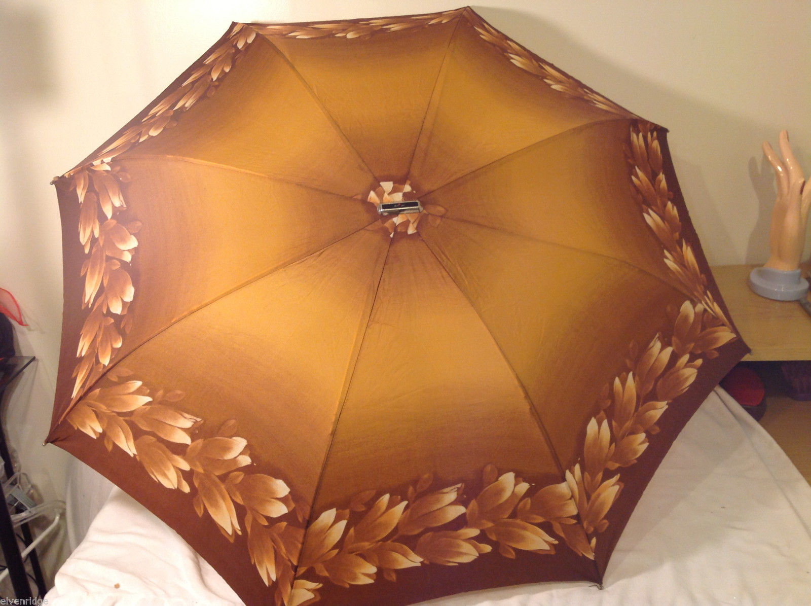 Vintage Knirps Compact Umbrella Flowers Design Light Brown Original Package