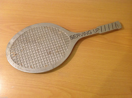 Vintage Hot Pot Metal Tennis Racket Shape Serving Up Trivet Stand