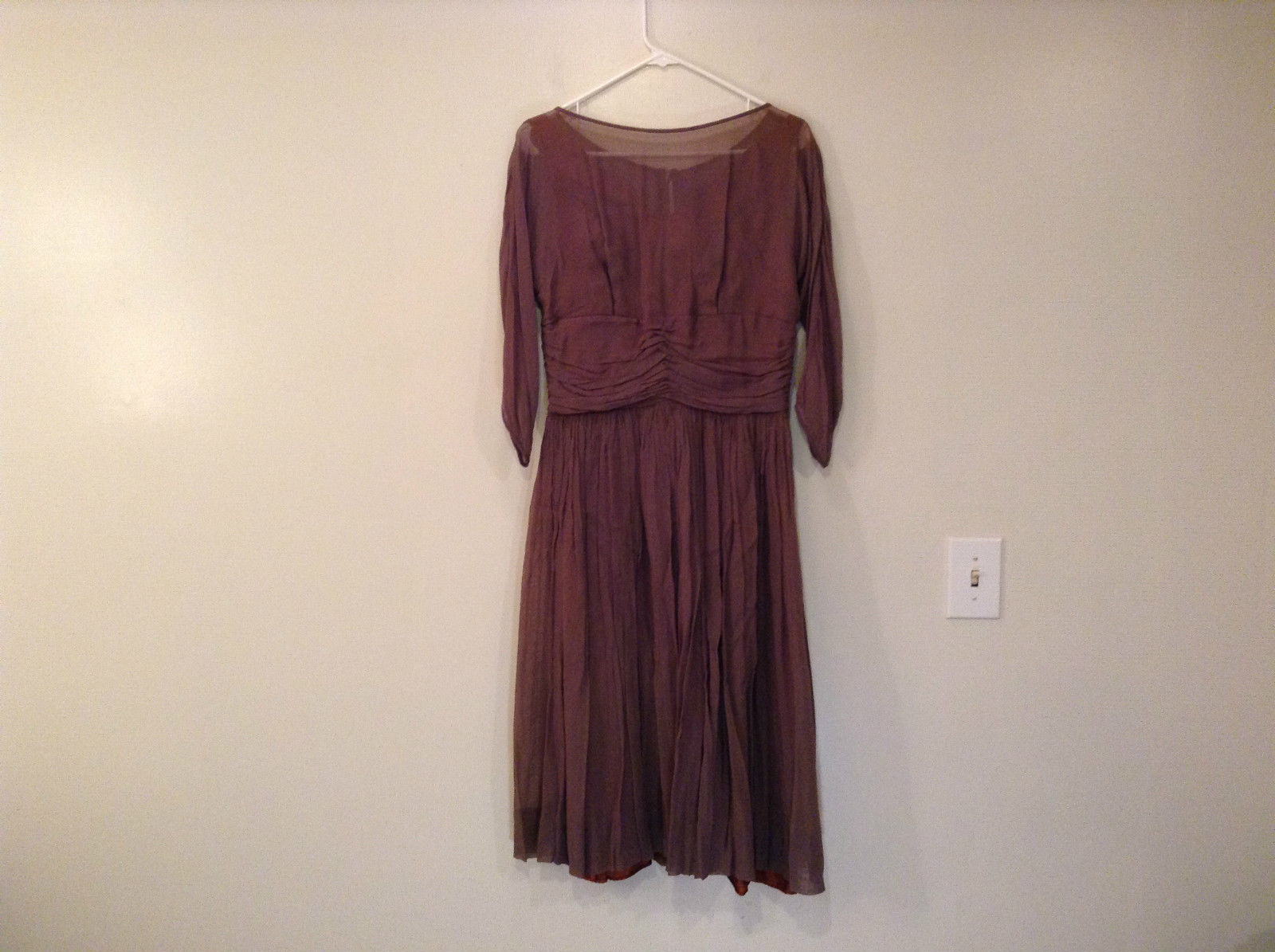 Vintage Kerrybrooke Smoke Brown Shell Brown Lining Dress No Size Tag