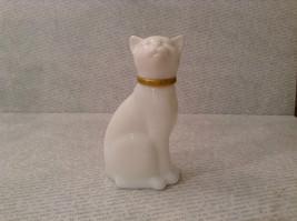 Sitting White Glass Cat Figurine EMPTY Cologne Jar Avon image 7