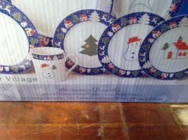 Sixteen Piece Stoneware Dinner The North Pole Snowman Tree Reindeer House set image 2