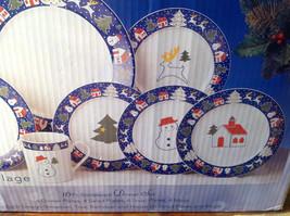 Sixteen Piece Stoneware Dinner The North Pole Snowman Tree Reindeer House set image 3