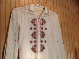 Size 1 Long Sleeve Button Up Off White Shirt Stitched on Designs image 2