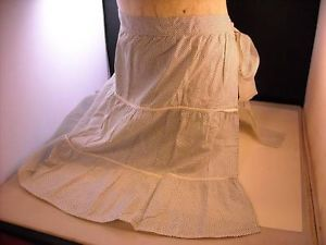Vintage Long White Apron with blue polka dots 1 pocket