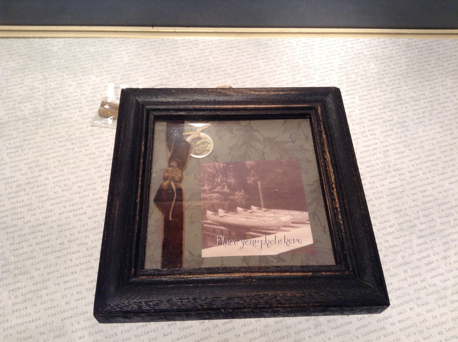 Vintage Look Black Photo Frame Ribbon Con Primitives by Kathy Back Stand Hanger