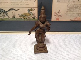 Vintage Metal Handmade Tribal Woman Figurine Copper Alloy Four Inches High