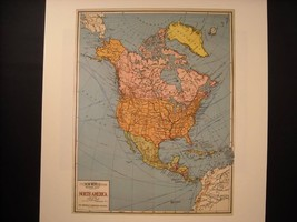 Vintage Map Reprint School Map of North America