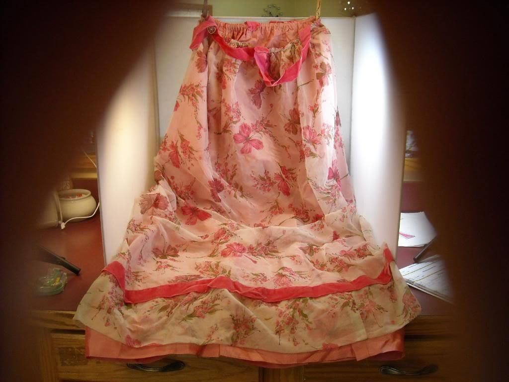 Vintage Long Skirt  Costume Clothing Pink floral with ruffles taffeta